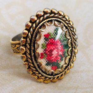 Vintage (?)  Floral Ring (Adjustable!)